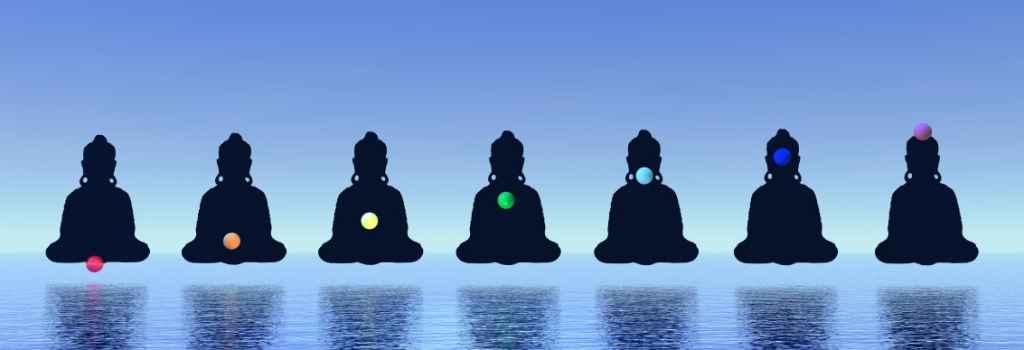Seven chakras in meditation into blue background