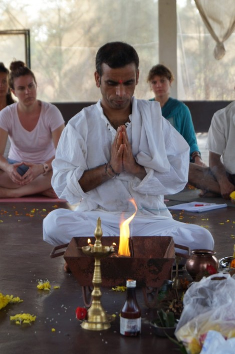 mahi doing yoga
