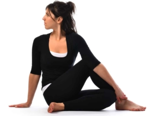 Ardha Matsyendrasana – Half spinal twist pose at Mahi Yoga